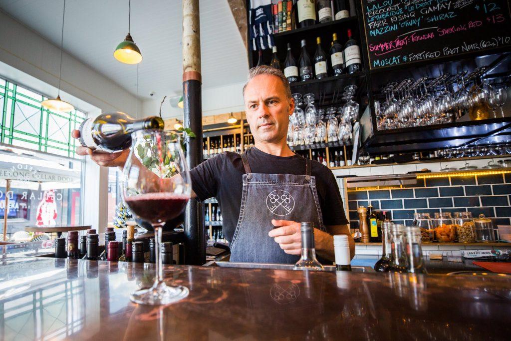 Geelong Cellar Door Jon pouring wine