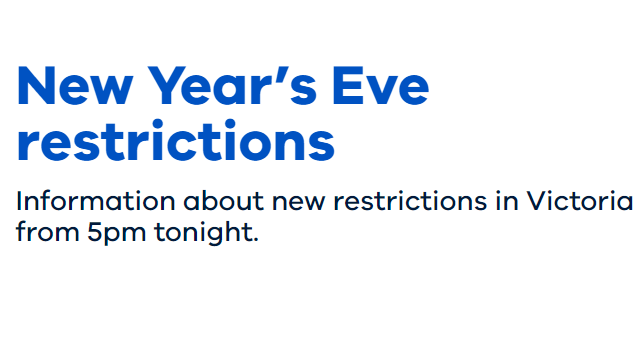 Updated New Years Eve Restrictions